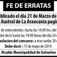 las bases del concurso al que se hace mención deberán ser retiradas en la Oficina de Partes de la Municipalidad de Galvarino, en horario de […]