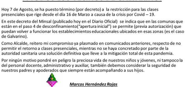 Nuestro Jefe Comunal deja clara su posición respecto del intento del Ministerio de Educación, de volver a clases presenciales por decreto.